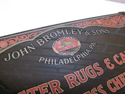 Antique John Bromley And Sons Philadelphia Rugs And Carpets Reverse On Glass Sign