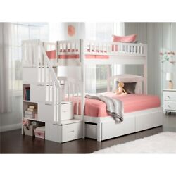 Atlantic Furniture Westbrook Staircase Storage Bunk Twin Over Full In White