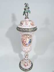 Antique Covered Cup - Tall Classical - Viennese Enamel & Silver - Karl Rössler