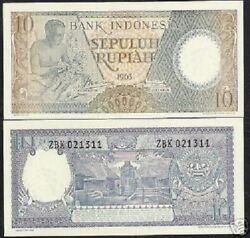 Indonesia 10 Rupiah P89 1963 Figure Carver Buffalo Unc Currency Money 10 Note