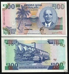 Malawi 100 Kwacha P-29 A 1993 Boat Rooster Unc Rare Currency Money Bill Note
