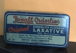 1930 Rexall Ordelies Chocolate Flavored Laxative Advertising Drug Store Tin