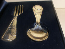 Vintage Co Sterling Silver Baby Set Fork And Spoon W/ Sheep Pig And Duck