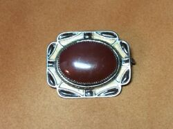 Vintage Art Deco Silver And Enameled Brown Austrian Art Glass Brooch