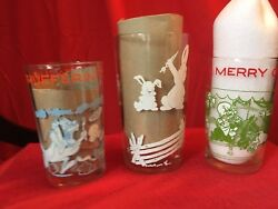 3 Warner Bros. 1974 Jelly Jar Glass Bugs Bunny, Sylvester And Tweety