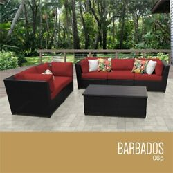 Tk Classics Barbados 6-piece Wicker Patio Sofa Set In Red And Black