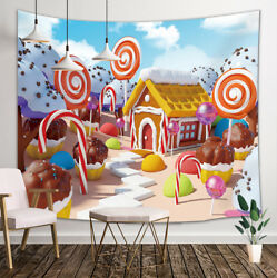 Candy Land With Gingerbread House Tapestry Wall Hanging Decor for Bedroom Dorm