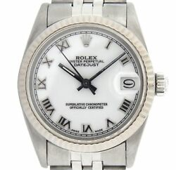Rolex Datejust 68274 Midsize Stainless Steel Watch Jubilee Band White Roman Dial
