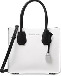 New MICHAEL KORS MERCER Studio Bonded messenger Leather white black silver bag $144.49
