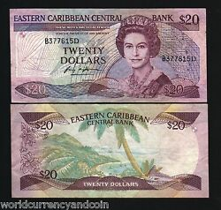 East Caribbean States Dominica 20 Dollars P24 D1 1988 Queen Boat Sign 1 Banknote
