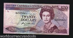 East Caribbean States Anguilla 20 Dollars P24u1 1988 Queen Boat Sign 1 Bank Note