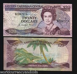 East Caribbean States Antigua 20 Dollars P24 A2 1985 Queen Boat Sign 2 Bank Note