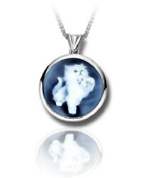 Sterling Silver And Blue Agate Kitten Cameo Funeral Cremation Urn Pendant W/chain