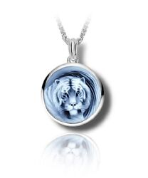 Sterling Silver And Blue Agate Tiger Cameo Funeral Cremation Urn Pendant W/chain