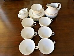 Royal Doulton Bone China, Fairfax, 7 Cups And Saucers W/ Sugar Bowl And Pitcher