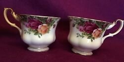 Royal Albert Old Country Roses Footed 2 Tea Cups Set England Bone China 1962
