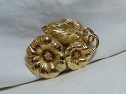 CHRISTIAN DIOR VINTAGE FLOWER LEAF BROOCH GOLD VERY RARE FASHION ACCESSORY WOMEN