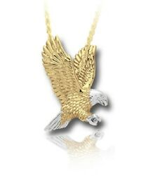 Sterling Silver And 10kt Gold Eagle Funeral Cremation Urn Pendant W/chain