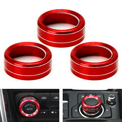 Red Aluminum AC Climate Control Knob Ring Covers For 14-18 Mazda 3