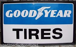 Old Goodyear Tires Sign Lrg Self Framed Embossed Gas Station Repair Shop Ad