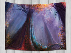 Purple Fog in Fantasy Forest Tapestry Wall Hanging Decor for Bedroom Dorm