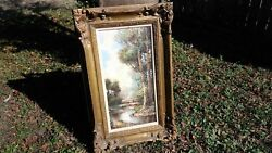 Vintage Original Henry R. Jacobs Woman In Forest Landscape Oil Painting Germany