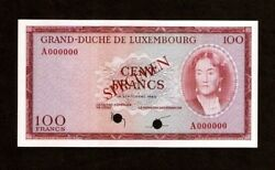 Luxembourg 100 Francs P52 1963 Specimen Euro Unc Currency Money Bank Note