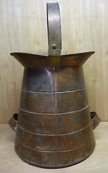 Antique Cooper And Brass Farm Milk Dairy Jug Large Double Side Handle Top Swivel