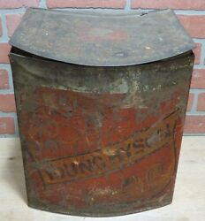 Antique Young Hyson Country Store Large Advertising Tea Tin Bin Container W Lid