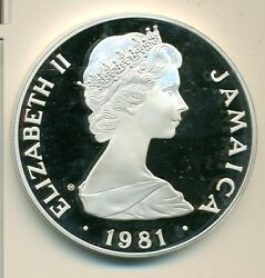 Jamaica 1981 25 Proof Silver Coin .925 Sterling Silver 2100 Grains