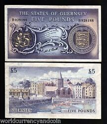 Guernsey 5 Pounds P46 C 1969 Boat Car Harbor Rare Money Bill Uk Gb Bank Note