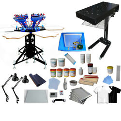 6 Color Silk Screen Press Wiht Exposure Unit And Flash Dryer Screen Printing Kit