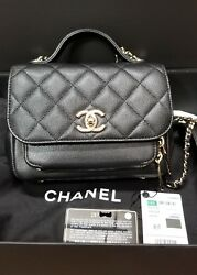 AUTH CHANEL SMALL BUSINESS AFFINITY FLAP CAVIAR BLACK W LIGHT GOLD BAG.