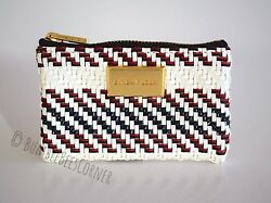 BIMBA Y LOLA Coin Case IVORY PLAITED Cosmetic Bag BRAIDED PLAITS Mini Pouch NWT $44.90