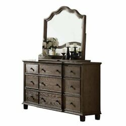 Traditional Distressed Wooden Dresser And Mirror In Weather Oak