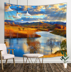 Autumn Rcenery River Tapestry Wall Hanging Decor for Bedroom Living Room Dorm