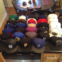32 Used Hat Cap New Era Mitchell And Ness 7 5/8 7 1/2 Mlb Nhl Nba Nfl + Various