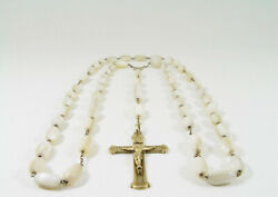 Lovely Long 1890 Gold Gilded French Silver And Mother Of Pearl Rosary 31