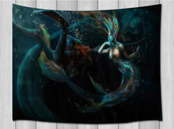 Evil Mermaid and Diver Tapestry Wall Hanging Decor for Bedroom Living Room