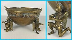Mid Century Modern Metal Pedestal Bowl Planter Angel Winged Mythical Creature