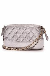 Chanel Small Gabrielle Clutch With Chain Bag - Silver