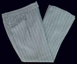 Men's Grey Hickory Striped Trousers Pants Vintage Morning Dress Cutaway Dickens