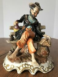 Vintage Collectible Capodimonte Italy Figurine Happy Hobo On Bench Marked 11.25quot; $42.00
