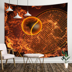 Burning Tennis Tapestry Wall Hanging Decor for Bedroom Living Room Blanket