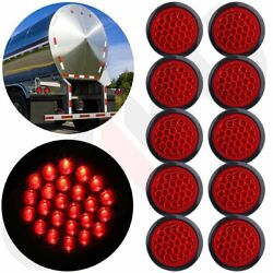 10x Red 24led Stop Turn Tail Brake 4 Round Lights For Kenworth Peterbilt Rubber