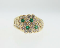 Fine Jewelry Natural Green Emeralds Diamonds Solid 18k Yellow Gold Floral Ring