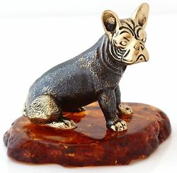 French Bulldog Brass Bronze Figurine Dog Miniature Sculpture Baltic Amber Base