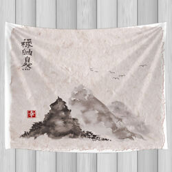 Chinese Landscape Painting Tapestry Wall Hanging Decor for Bedroom Living Room