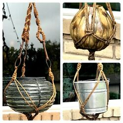 Ooak Macrame And Horse Bit Plant Hanger One Of A Kind 64 Long Large Forged Iron