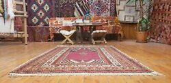 Beautiful Antique 1940-1950and039s Wool Pile Natural Dye Prayer Rug 3and0397andtimes5and0394